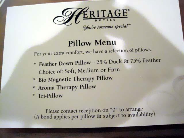 The pillow menu